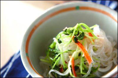 豆苗、春雨サラダ