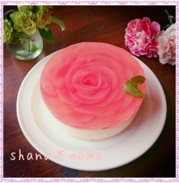 桃、薔薇、レアチーズケーキ